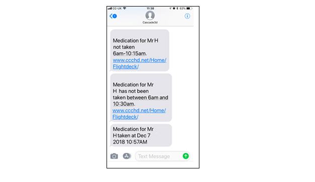 Alert Text Message – Text alerting responder on triggered event